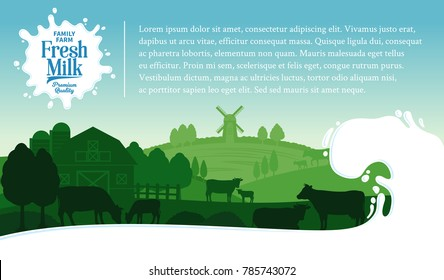 Vector milk illustration with splash, rural landscape with cows, calves and farm.