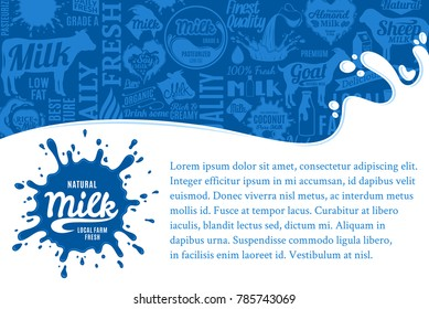 Vector milk illustration with splashes, icons and design elements.