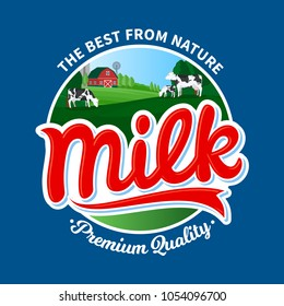 Vector milk logo with cows and farm on blue background.