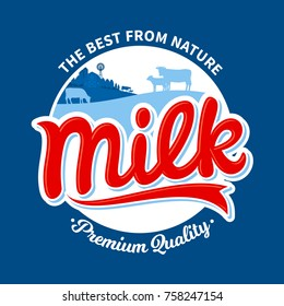 Vector milk logo template with cows and farm on blue background