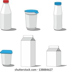 Vector. Milk packaging  set 001