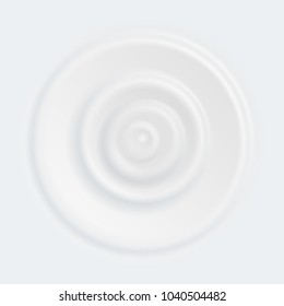 Vector milk splash circle waves or yogurt cream texture curved surface white. Background template for cosmetic moisturizer or diary milk product design top view from falling drop.