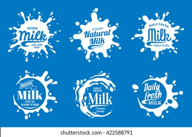 Vector milk, yogurt or cream logo, icons and splashes