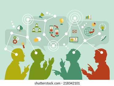 Vector. Mind Map Illustration. Communication mapping. A group of people to communicate on the Internet.