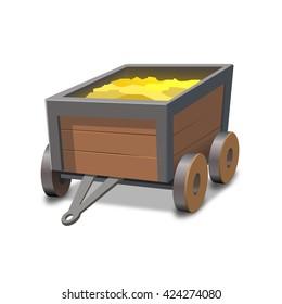 Vector mine cart full of gold.