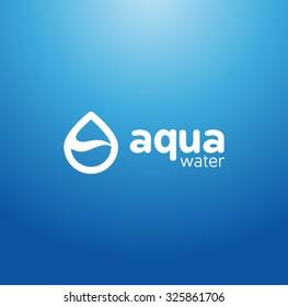 Vector Mineral Bottled Spring water logo design in Blue background