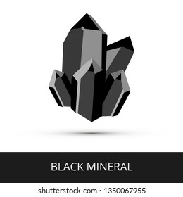 Vector mineralogy icon of a black mineral hematite, magnetite or another dark mineral. Black glittering crystalline stone or gemstone crystal isolated on a white background.