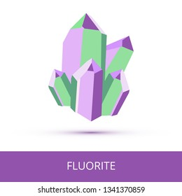 Vector mineralogy icon of calcium fluoride mineral – fluorite CaF2 from the mohs scale of mineral hardness. Violet or purple green crystalline stone or gemstone crystal isolated on a white background.