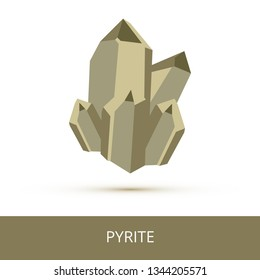 Vector mineralogy icon of an iron sulfide mineral pyrite FeS2 or fool's gold. Superficial resemblance of pyrite to gold. Dark gold crystalline stone or gemstone crystal isolated on a white background.