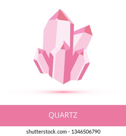 Vector mineralogy icon of mineral quartz SiO2 composed of silicon and oxygen from the mohs scale of mineral hardness. Dark pink or red crystalline stone or gemstone crystal isolated on white.