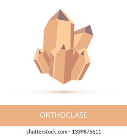 Vector mineralogy icon of silicate mineral orthoclase from the mohs scale of mineral hardness. Brown or beige crystalline stone or gemstone crystal isolated on a white background.