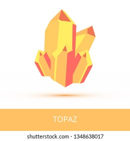 Vector mineralogy icon of a silicate mineral topaz from the mohs scale of mineral hardness. Yellow crystalline stone or gemstone crystal isolated on a white background.