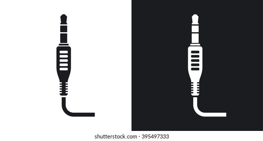 Vector mini jack plug icon. Two-tone version on black and white background