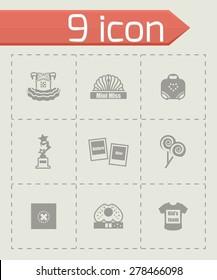 Vector Mini Miss icon set on grey background