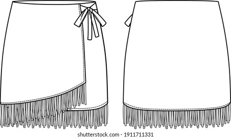 Vector mini skirt fashion CAD, woman fringe detailed skirt technical drawing, wrap skirt sketch, template