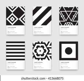 Vector Minimal Black and White Graphic Trendy Vertical Business Cards Set