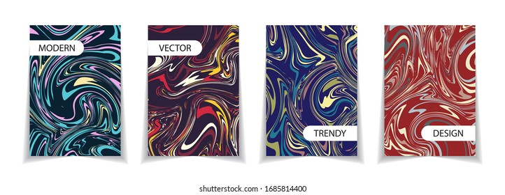 Vector minimal covers collection. Fluid multicolored design.