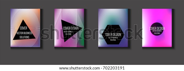 Vector minimal covers set. Iridescent futuristic poster design. Funky trendy business background. Set of four A4 abstract covers. Neon colored halftone blend tech design. Simple clean linear texture.