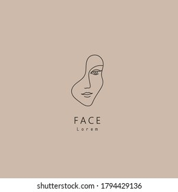 Vector minimal face, linear artistic logo. Social net, emblem for beauty studio and cosmetics - female portrait, beautiful woman's face - badge for make up artist, fashion. T-shirt print