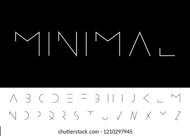 Vector minimal font - modern futuristic design. Creative english alphabet, latin letters