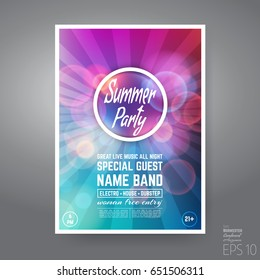 Vector Minimal House Summer Party Poster. Futuristic Leaflet Design Template