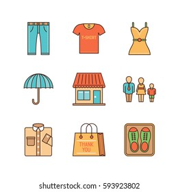 Vector minimal lineart clothes shopping iconset. Jeans, pants, dress, umbrella, shop, family, shirt, shopping bag, shoes.