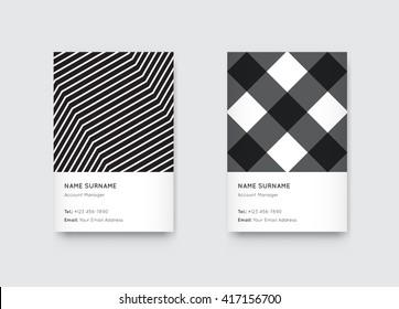 Vector Minimal Propaedeutics Black and White Graphic Trendy Vertical Business Cards Set