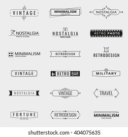 Vector minimal vintage logo templates. Logo travel, emblem company logo bar, brand logo photo studio illustration