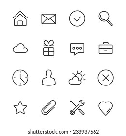 Vector Minimalism Style Design Black Icons Set. Isolated on white background.