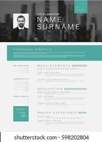 Vector minimalist black, white and teal cv / resume template design with profile and header photo