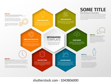 Vector Minimalist colorful Infographic report template with hexagons