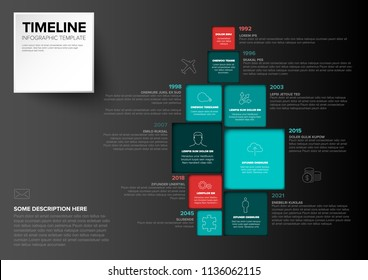 Vector Minimalist colorful vertical timeline Infographic template with square blocks - dark teal red version