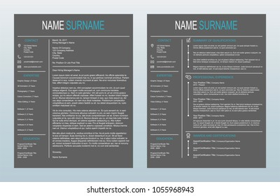 Vector Minimalist Creative Cover Letter And One Page Resume/CV Template On Charcoal Background
