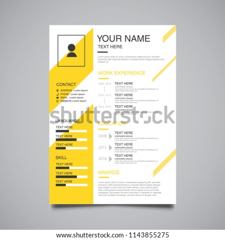 vector minimalist curriculum vitae resume template dark yellow color version
