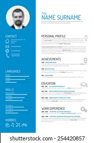 vector minimalist cv resume template - Personal Resume Template
