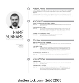 Vector minimalist cv / resume template - minimalistic black and white version