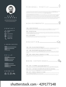 Resume Template Images, Stock Photos & Vectors | Shutterstock