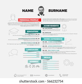 Vector minimalist cv / resume template with with red and teal labels and big thin line icons