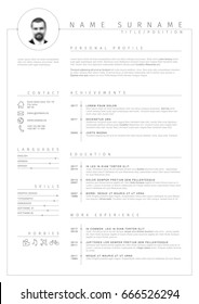 Vector minimalist cv / resume template with nice typogrgaphy design and simple timelines