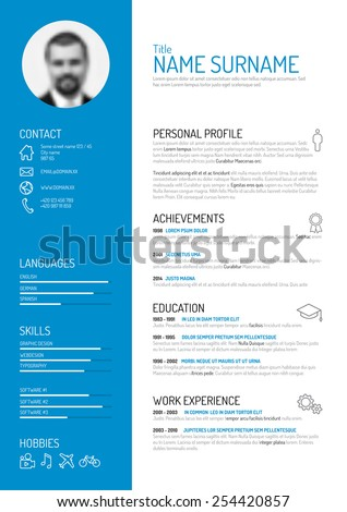 Vector Minimalist Cv Resume Template Stock Vector (Royalty Free ...
