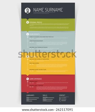 vector minimalist cv resume template colorful stock vector royalty