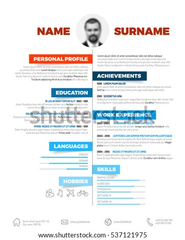 Vector Minimalist Cv Resume Template Nice Stock Vector (Royalty Free ...