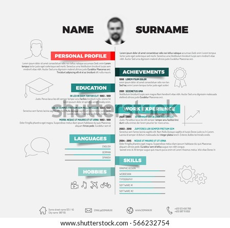 Vector Minimalist Cv Resume Template Red Stock Vector (Royalty Free ...