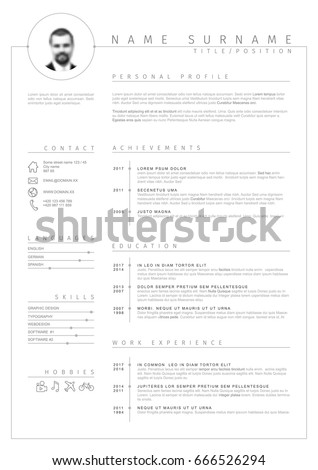 Vector Minimalist Cv Resume Template With Nice Typogrgaphy Design And Simple Timelines