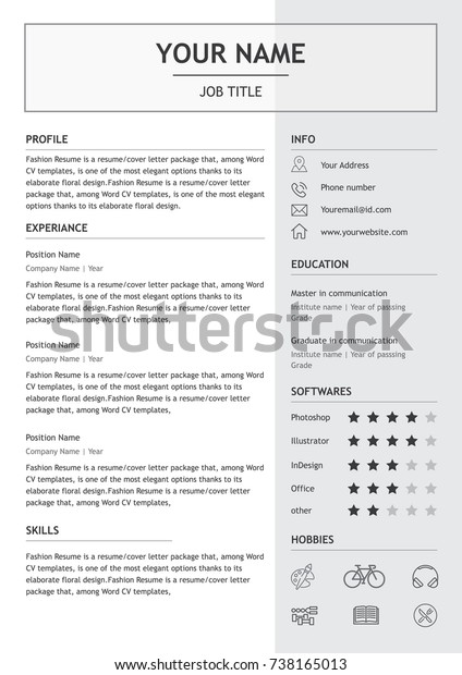 Vector Minimalist Cvresume Template Simple Design Stock Vector