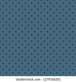 Vector minimalist geometric floral pattern. Simple abstract seamless texture with tiny flower shapes, crosses. Deep blue ornament background. Elegant minimal repeat design for decor, textile, prints