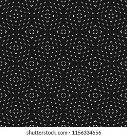 Vector minimalist geometric seamless pattern with small wavy shapes, curved lines. Simple abstract monochrome texture with concentric waves. Black and white background. Modern minimal dark design