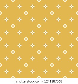 Vector minimalist geometric seamless pattern. Simple abstract texture with small crosses, flower silhouettes in square grid. Mustard yellow and white minimal background. Pixel art. Repeatable design