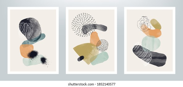 Сreative vector minimalist hand painted illustrations for cover design or wall decoration.