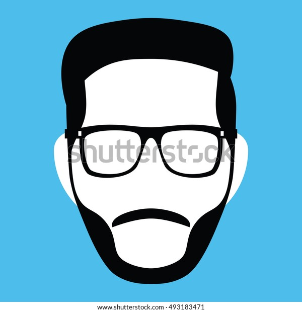 Vector Minimalist Middle Young Man Face Isolated